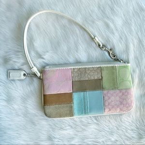 Coach Spring Easter Patchwork Mini Wristlet